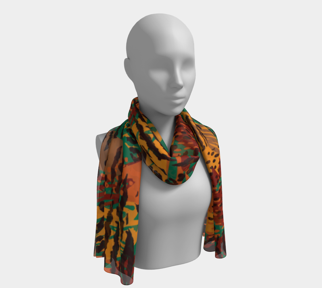 Safari Animal Print Mashup Long Scarf