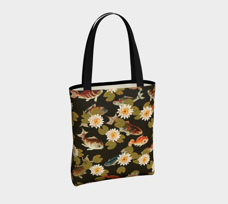 Koi & Lily Pads in Dark Water - Tote Bag