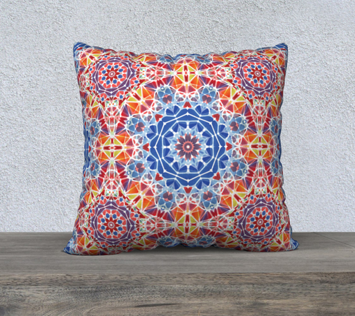 "Blue and Orange Kaleidoscope 22"" x 22"" Decorative Pillow Case"