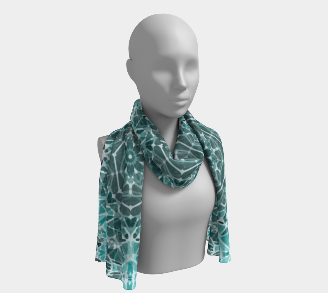 Turquoise & Gray Kaleidoscope Long Scarf