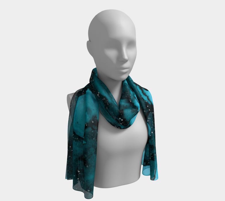 Watercolor Swirls O - Turquoise Splotches, Long  Scarf