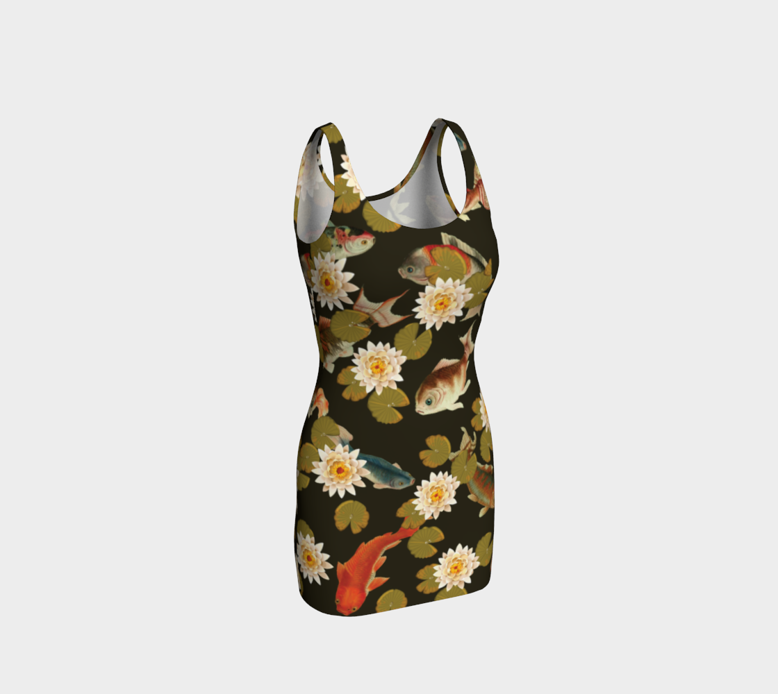 Koi & Lily Pads in Dark Water Bodycon Dress