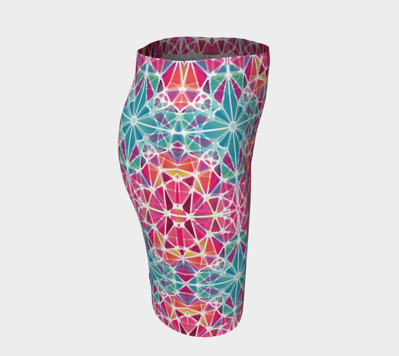 Pink and Blue Kaleidoscope Fitted Skirt