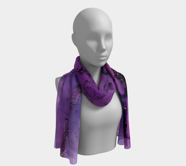 Watercolor Swirls K - Purple & Black, Long Scarf