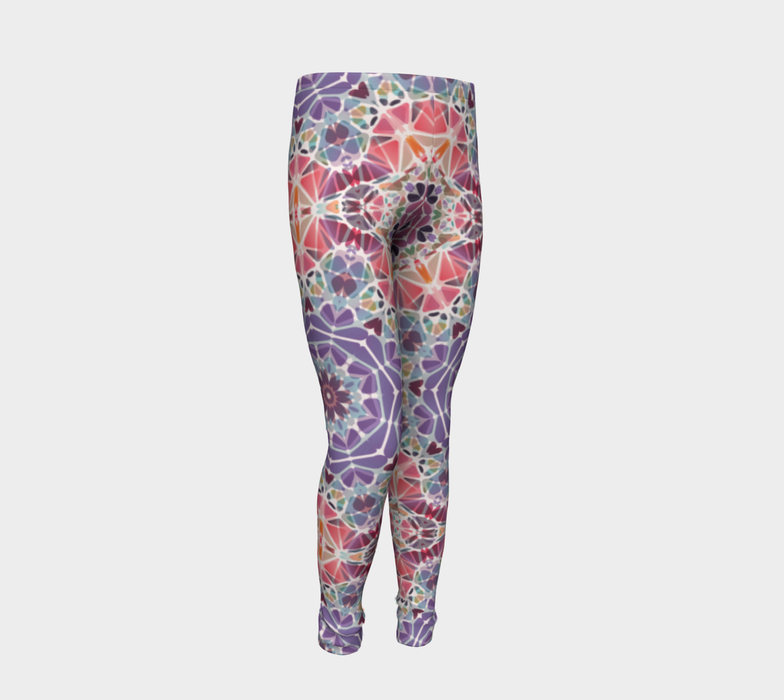 Purple and Pink Kaleidoscope Youth Leggings