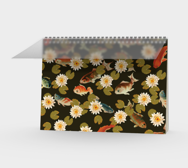 Koi & Lily Pads in Dark Water Spiral Notebook