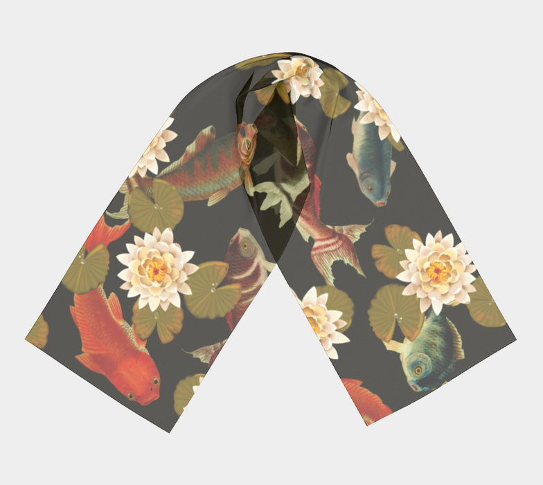 Koi & Lily Pads in Dark Water - Long Scarf