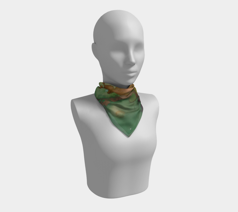 Watercolor Swirls H - Greens & Earthtones, Square Scarf