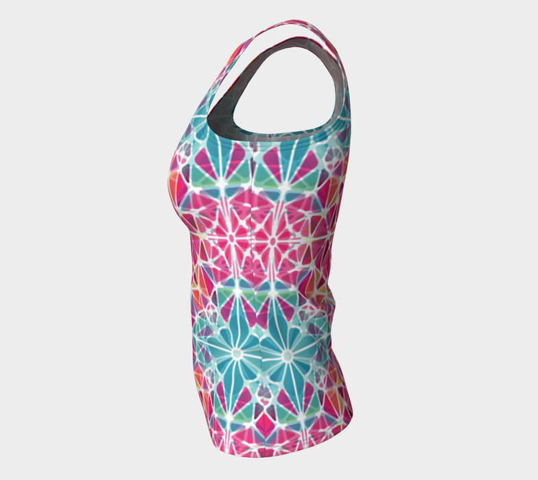 Pink and Blue Kaleidoscope Fitted Tank Top
