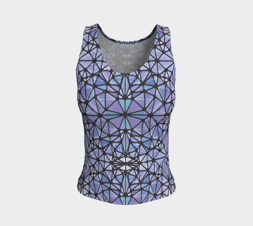 Purple and Blue Kaleidoscope Fitted Tank Top