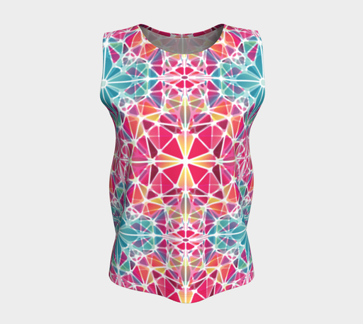 Pink and Blue Kaleidoscope Loose Tank Top
