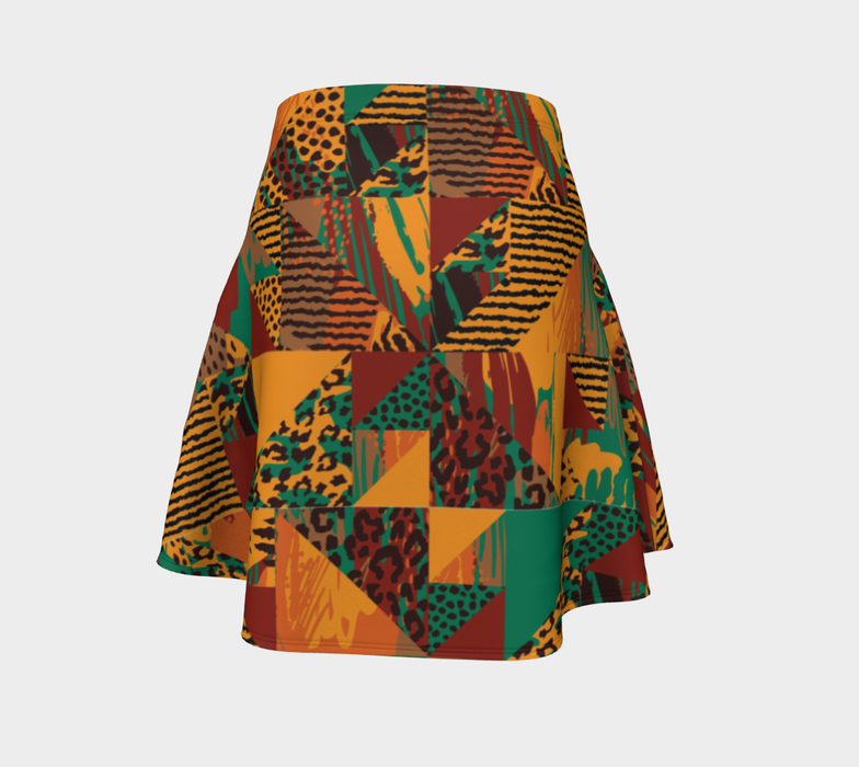 Abstract Safari Print Flare Skirt
