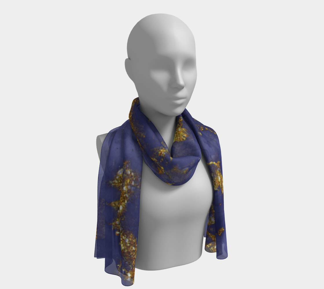 Watercolor Swirls C  - Blue & Gold, Long Scarf