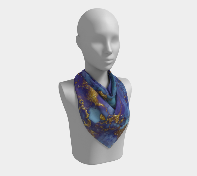 Watercolor Swirls F - Blue & Gold, Square Scarf