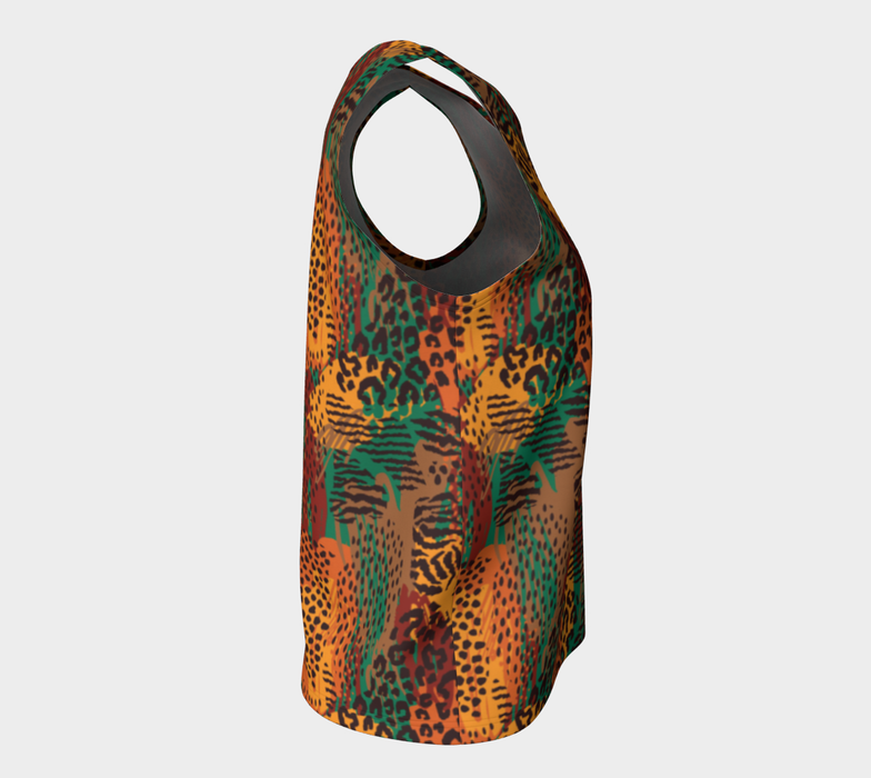 Safari Animal Print Mashup Loose Tank Top