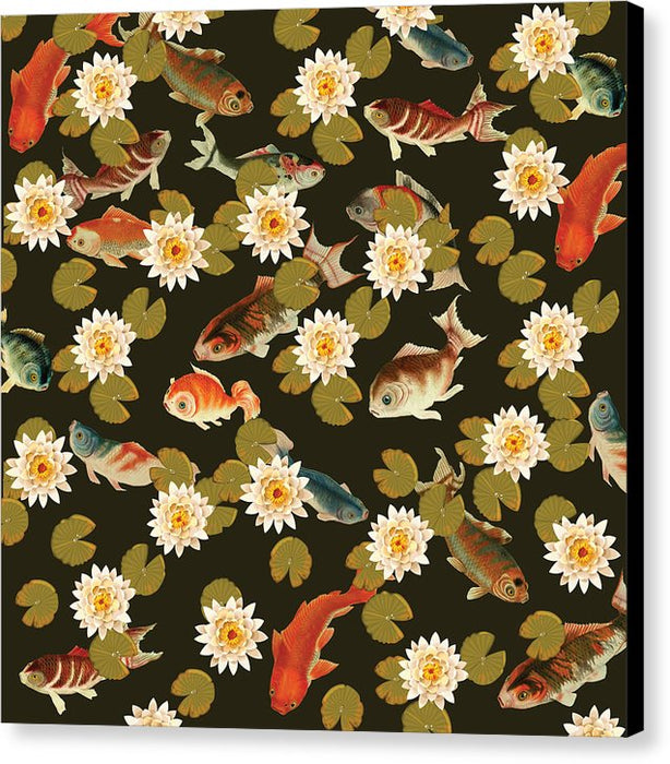 Koi And Lily Pads In Dark Water - Canvas Print
