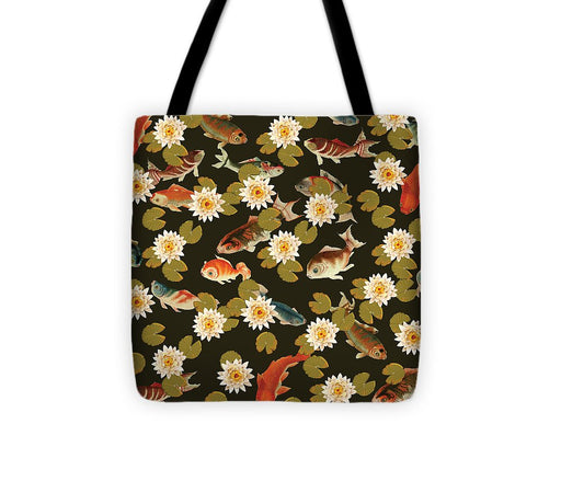 Koi And Lily Pads In Dark Water - Tote Bag