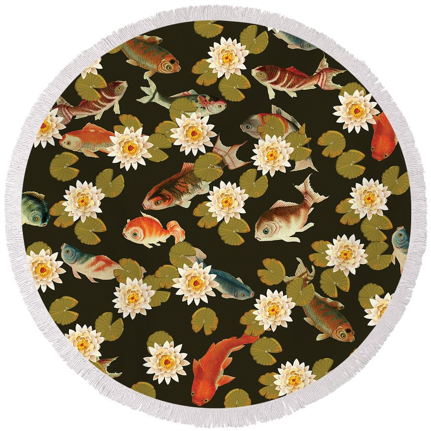 Koi And Lily Pads In Dark Water - Round Beach Towel