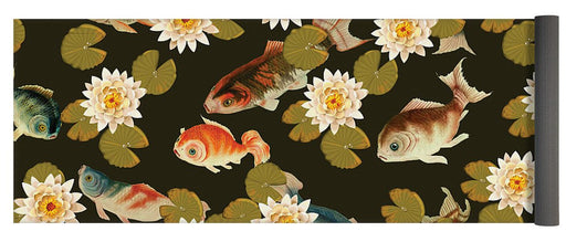 Koi And Lily Pads In Dark Water - Yoga Mat