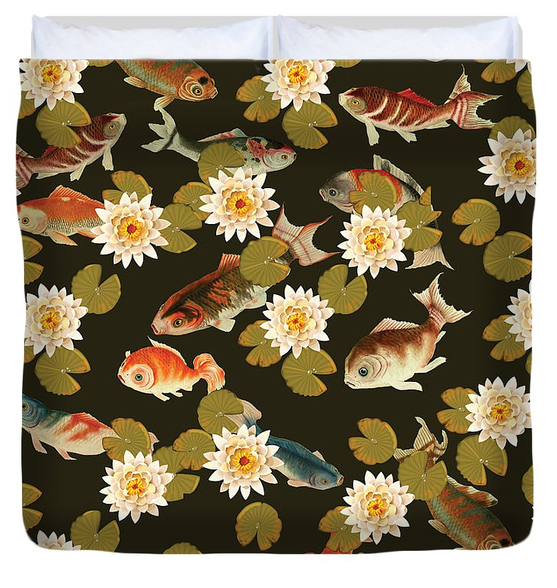 Koi And Lily Pads In Dark Water - Duvet Cover