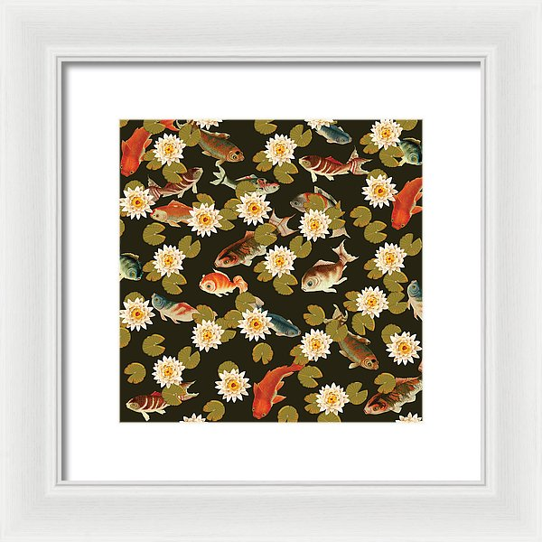 Koi And Lily Pads In Dark Water - Framed Print