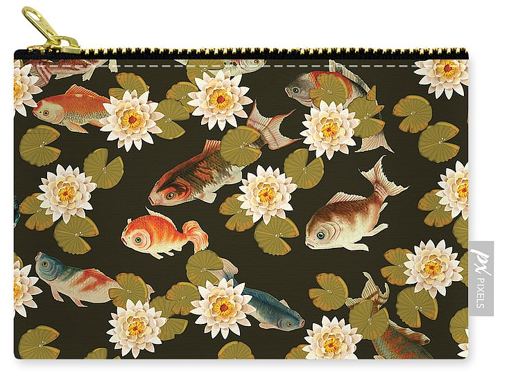 Koi And Lily Pads In Dark Water - Carry-All Pouch