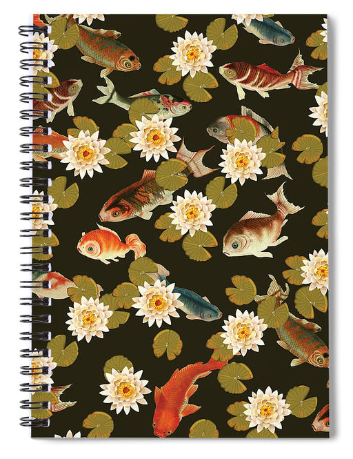 Koi And Lily Pads In Dark Water - Spiral Notebook