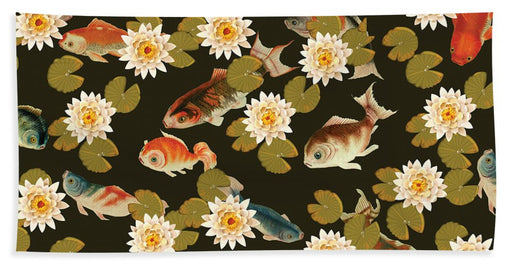 Koi And Lily Pads In Dark Water - Beach Towel