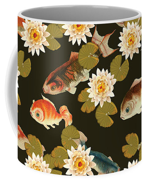 Koi And Lily Pads In Dark Water - Mug