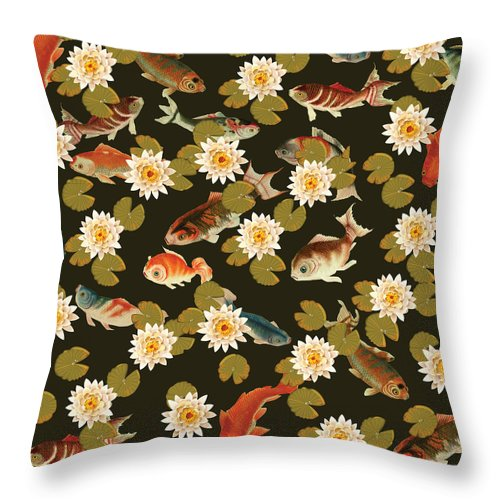 Koi And Lily Pads In Dark Water - Throw Pillow