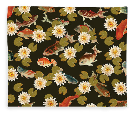 Koi And Lily Pads In Dark Water - Blanket