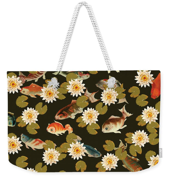 Koi And Lily Pads In Dark Water - Weekender Tote Bag