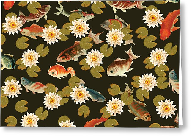 Koi And Lily Pads In Dark Water - Greeting Card
