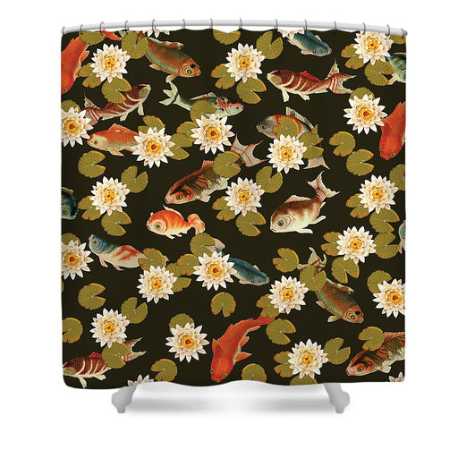 Koi And Lily Pads In Dark Water - Shower Curtain