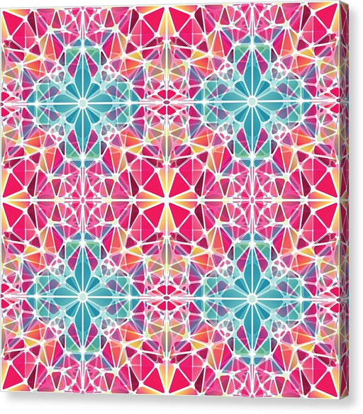 Pink And Blue Kaleidoscope - Canvas Print