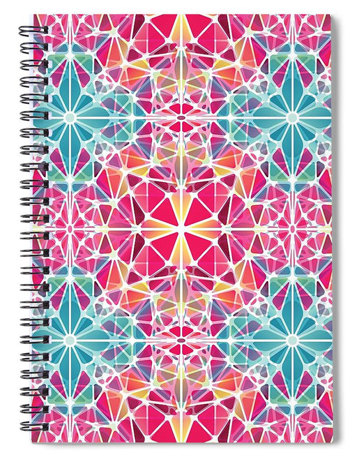 Pink And Blue Kaleidoscope - Spiral Notebook