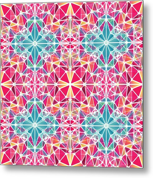 Pink And Blue Kaleidoscope - Metal Print