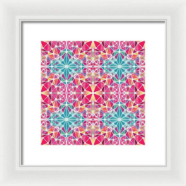 Pink And Blue Kaleidoscope - Framed Print