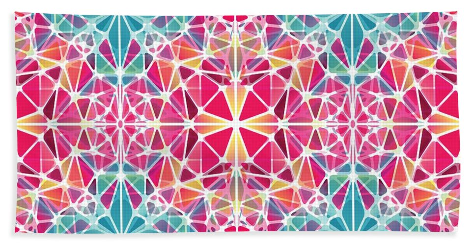 Pink And Blue Kaleidoscope - Beach Towel