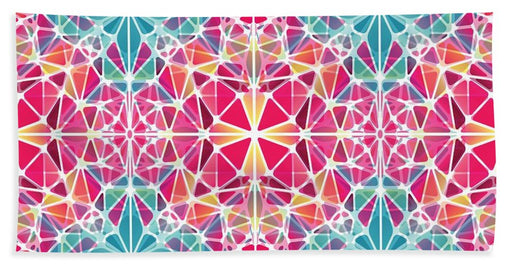 Pink And Blue Kaleidoscope - Bath Towel