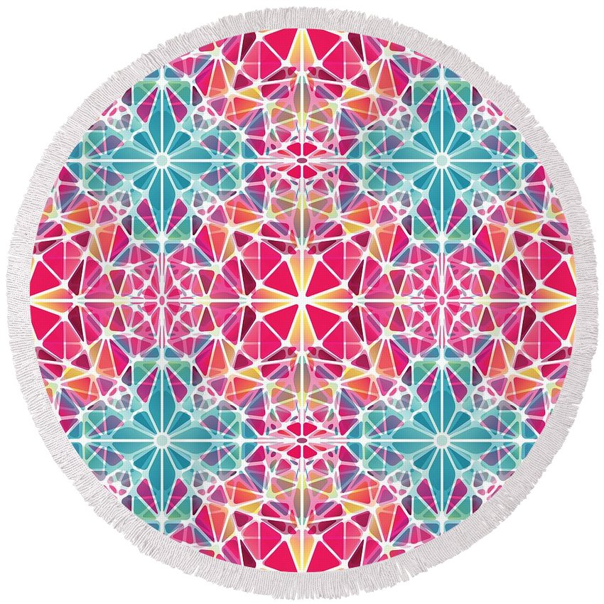 Pink And Blue Kaleidoscope - Round Beach Towel