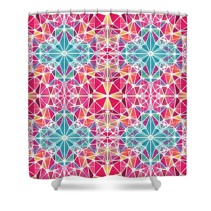 Pink And Blue Kaleidoscope - Shower Curtain