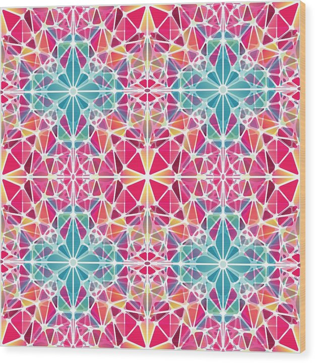 Pink And Blue Kaleidoscope - Wood Print