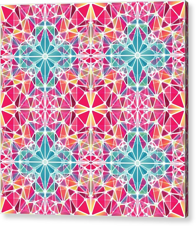 Pink And Blue Kaleidoscope - Acrylic Print