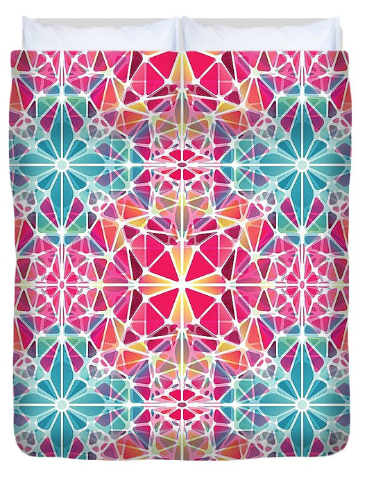 Pink And Blue Kaleidoscope - Duvet Cover