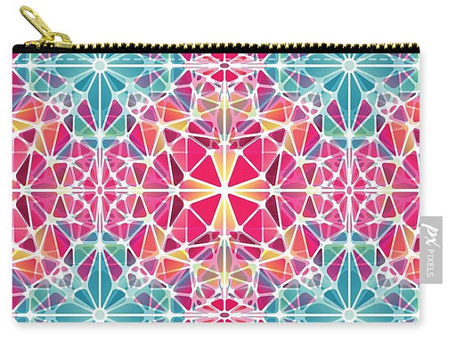 Pink And Blue Kaleidoscope - Carry-All Pouch