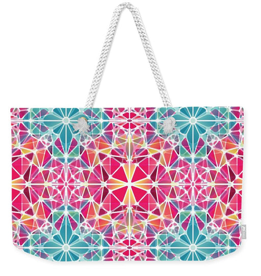 Pink And Blue Kaleidoscope - Weekender Tote Bag