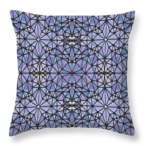 Purple And Blue Kaleidoscope - Throw Pillow