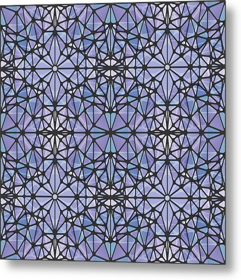 Purple And Blue Kaleidoscope - Metal Print