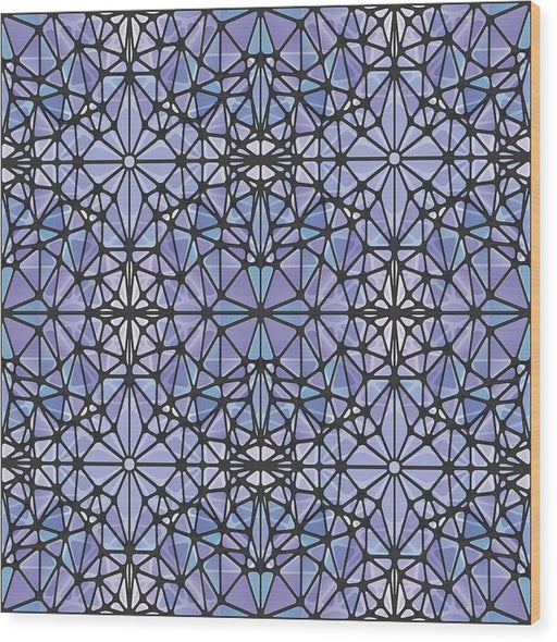 Purple And Blue Kaleidoscope - Wood Print